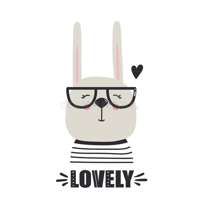 Background with happy rabbit, heart and text. Lovely. Hand drawn illustration with happy rabbit, heart and lettering. Colorful background vector. Lovely, poster stock illustration