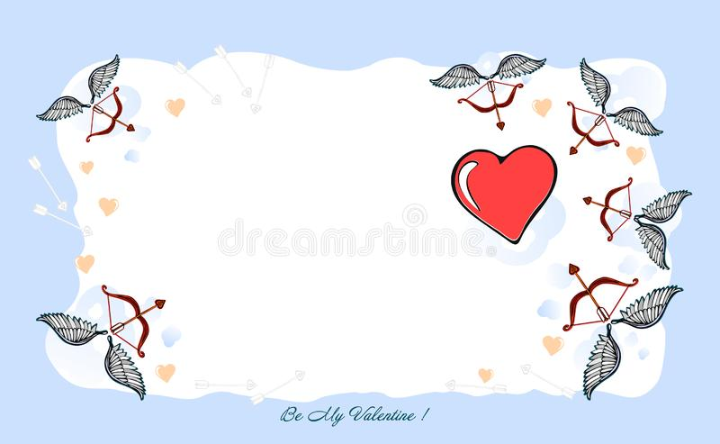 Background a happy Valentines Day, Valentine card. A Valentines Day illustration - I Love YOU, original designed hand-drawing. Illustration Love with a bow & stock illustration