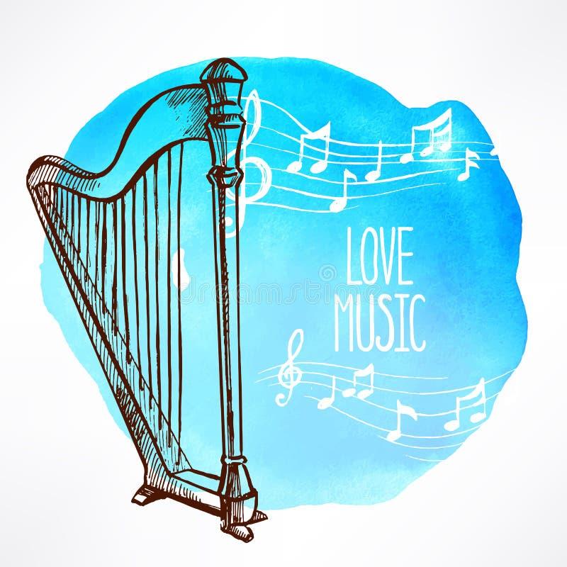 Background with harp stock illustration