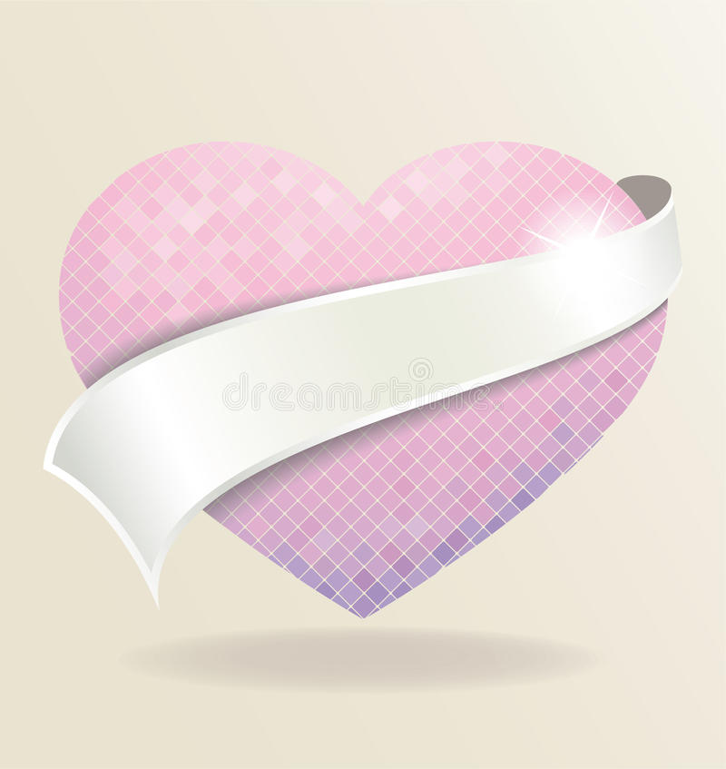Background with heart. Image of background with mosaic heart vector illustration