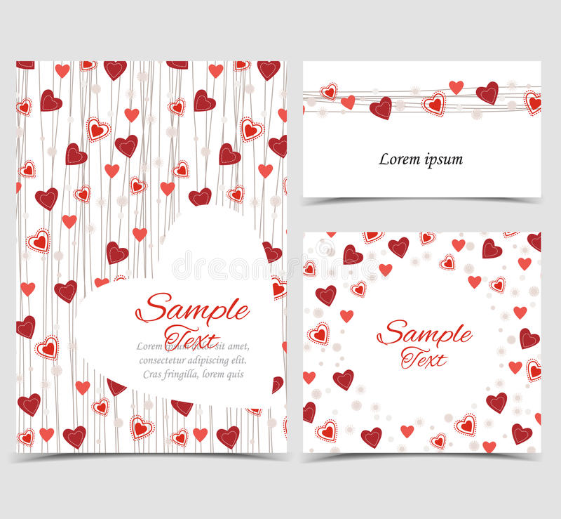 Background with heart decoration. Vector illustration decoration of hearts. Background with pink and red heart. Set of greeting cards stock illustration
