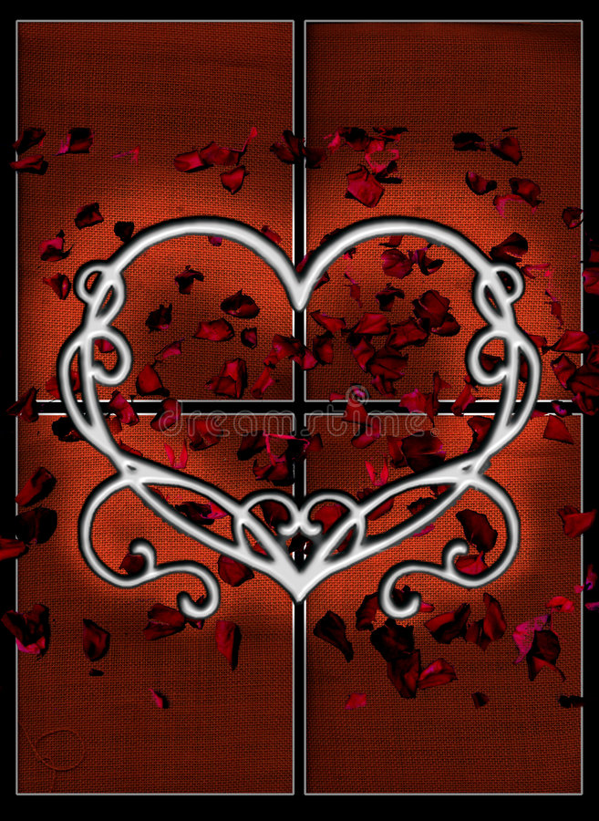 Download Background With Heart And Petals Stock Illustration - Image: 6952496