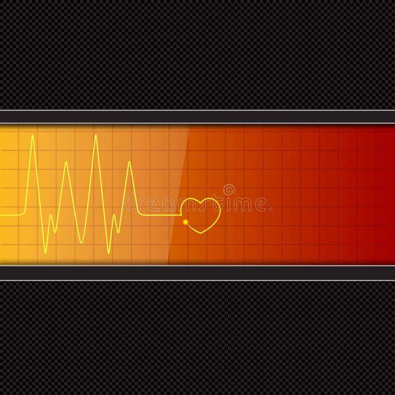 Background with heart pulse monitor