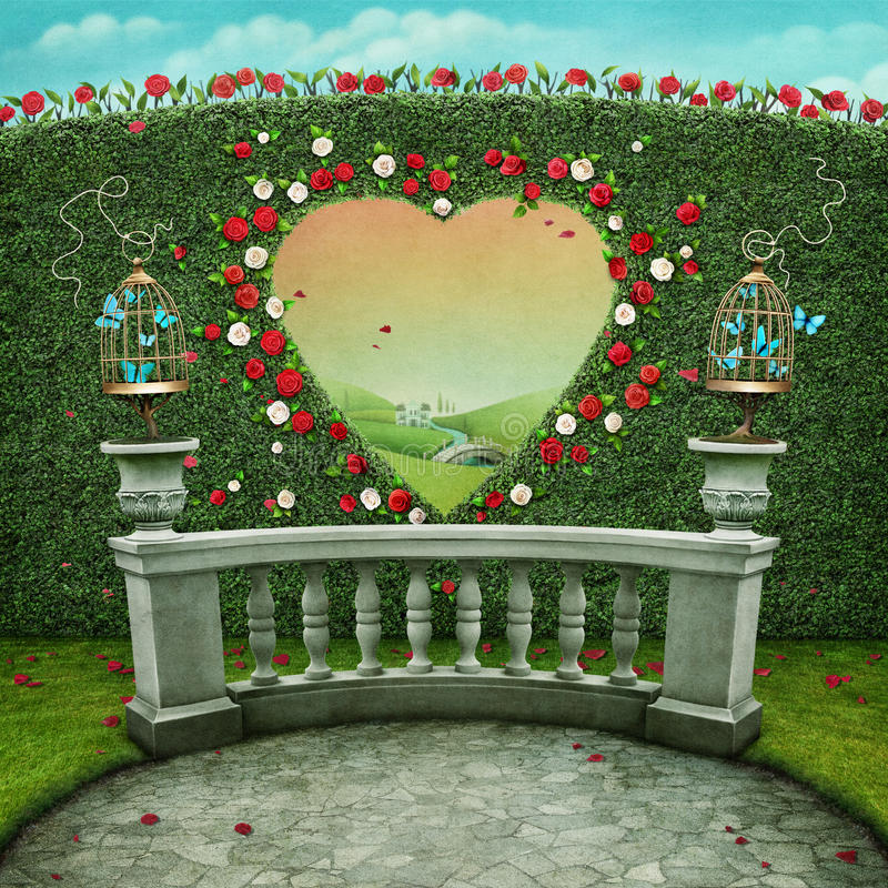 Background with heart window. Green pastel background with cage on railing and window in shape of heart. Computer graphics stock illustration