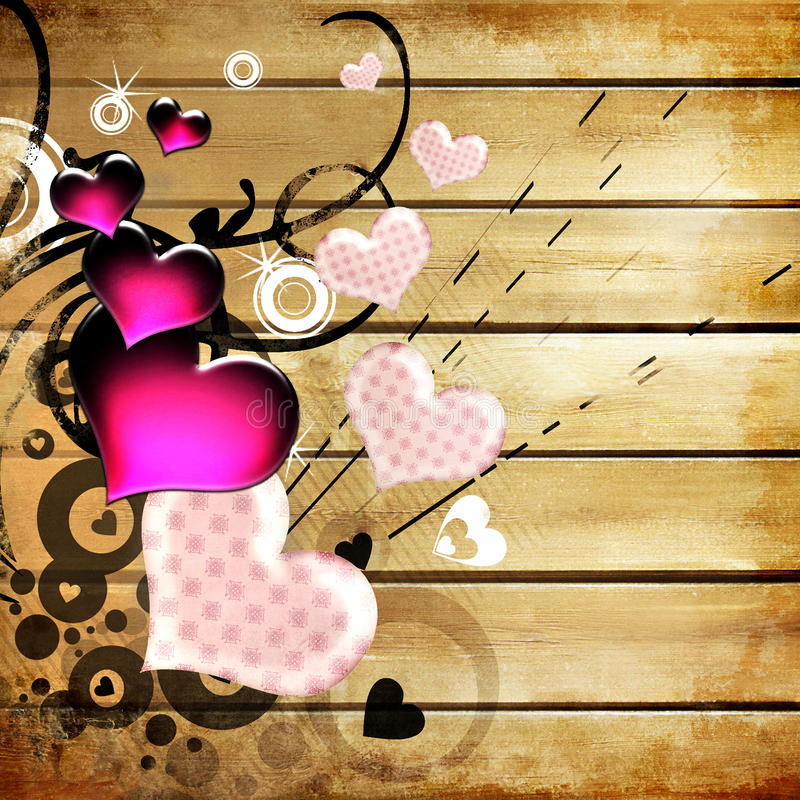 Background with hearts stock illustration
