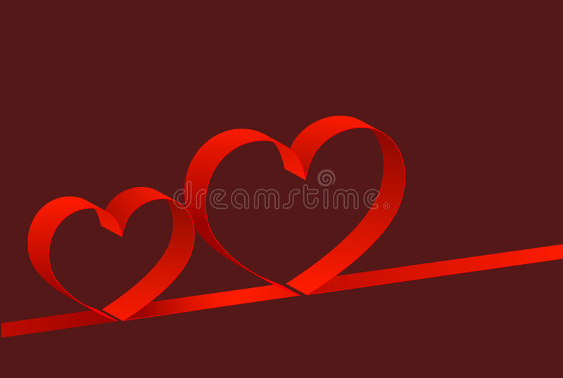 Background with hearts. Red background with two hearts stock illustration