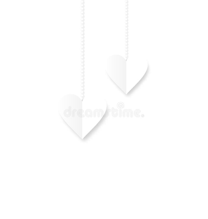 Background of hearts hanging on strings - Valentine s Day stock illustration