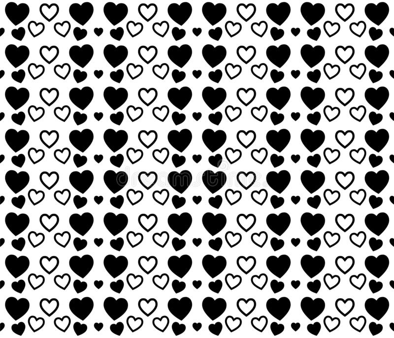 Black and white heart texture for Valentines Day. Clean and lovely background design. stock illustration