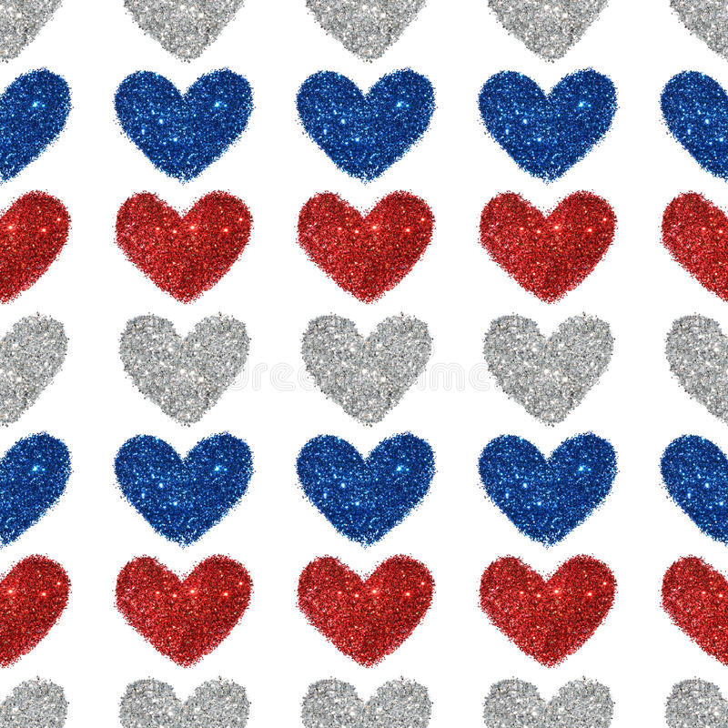 Background with hearts of red, blue and silver glitter, seamless pattern. Background with hearts of red, blue and silver glitter. Seamless pattern royalty free stock images