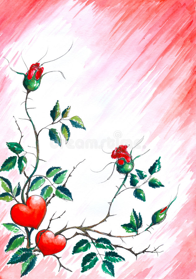 Background with hearts and roses. royalty free illustration