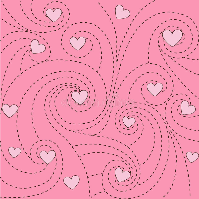 Background with hearts and swirls stock illustration