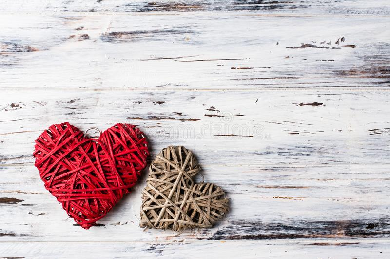 Background with hearts, Valentine. Valentine`s Day. Love. wicker hearts. Place for text. background copy space stock photo