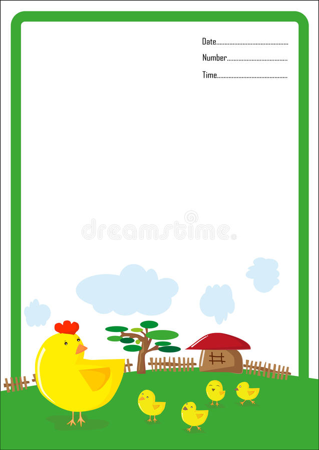 Background hen and chick cartoon royalty free illustration