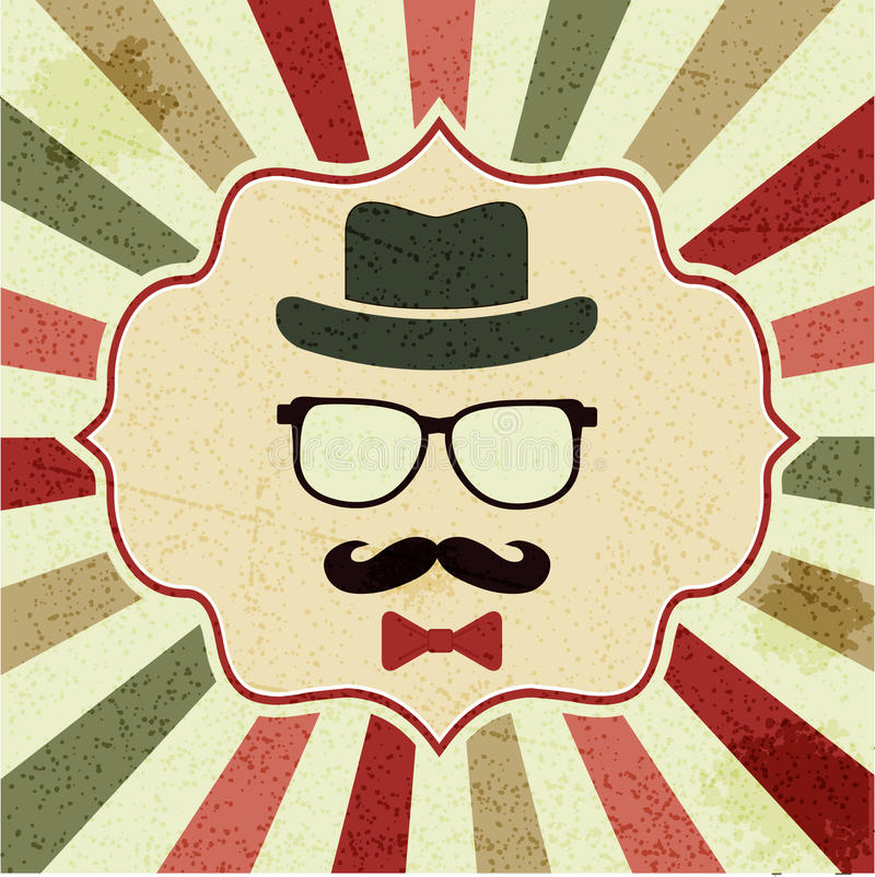 Background with hipster's hat, glasses, moustache stock illustration