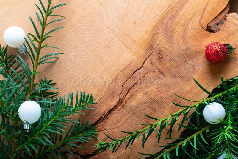 Background for Holiday New year, and Christmas by pine tree bush royalty free stock images