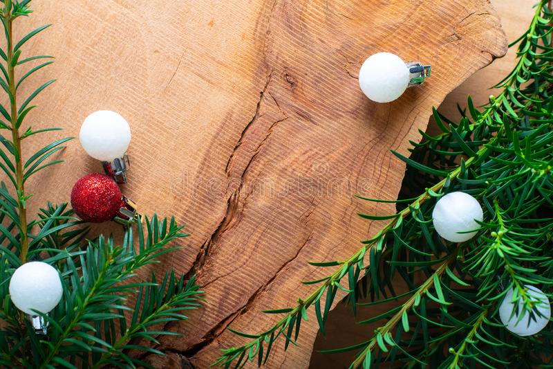 Background for Holiday New year, and Christmas by pine tree bush stock photography