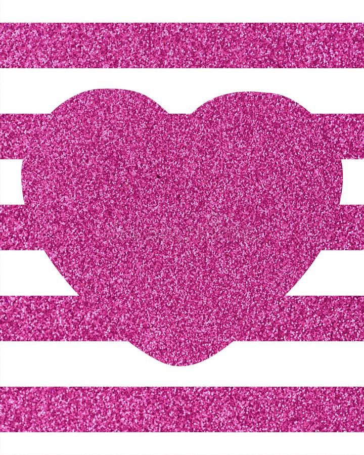 Background of horizontal glittery pink stripes with a big heart. In the middle with copy space The Theme of love and Valentines Day Idea for greeting card vector illustration