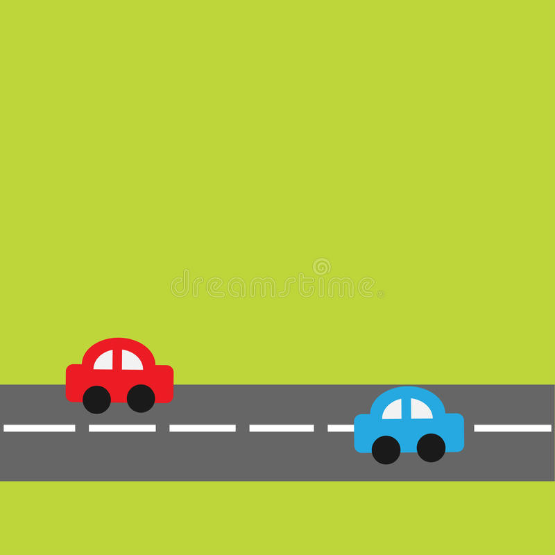 Background With Horizontal Road And Cartoon Cars. Stock ...