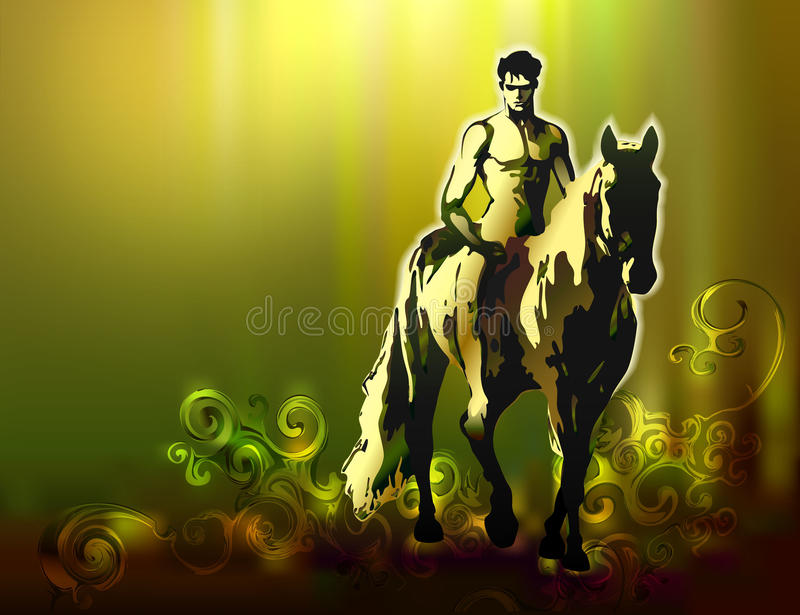 Vector Background with horseman vector illustration