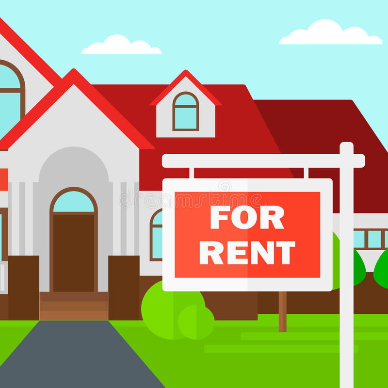 For Rental: Background Of House With For Rent Real Estate Sign. Stock