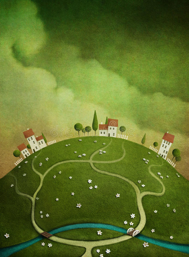 Download Background With Houses On The Hill. Stock Illustration - Image: 26433448