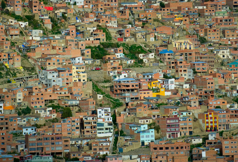Background of houses, La Paz, Bolivia stock images