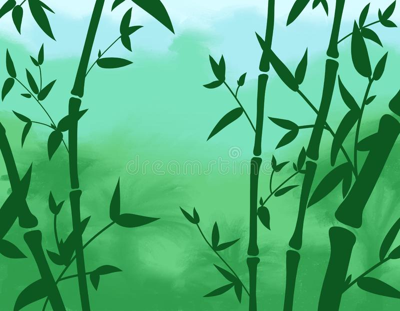 Background illustration of Green bamboo silhouette in tropical forest with space for text. royalty free illustration