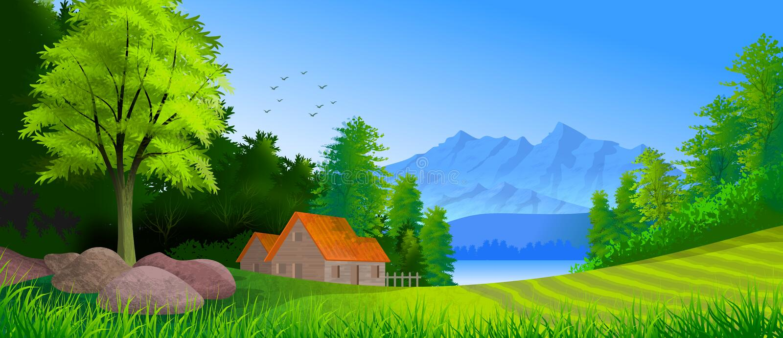 Background with illustration of natural landscaping with mountain, lake and cottage among trees and greenery. royalty free stock photo