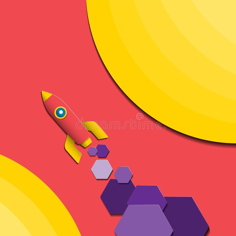 Background illustration of a rocket with the geometric elements of the hexagons. Paper print design element cover flyer. Vector stock illustration