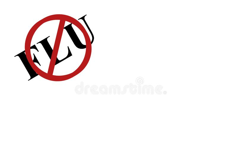 Stop flu sign on white background with lots of copy space. Background illustration of stop flu sign in top left corner on a white background. Copy space provided royalty free illustration
