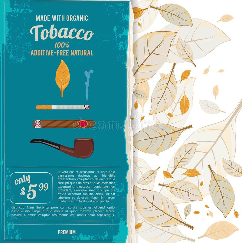 Background illustrations with tobacco leafs, cigarettes and various tools for smokers. Tobacco and nicotine, smoke cigar or cigarett, vector illustration stock illustration