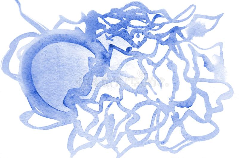 Background image from abstract watercolor stains, forming a form of blue color, like a jellyfish stock illustration