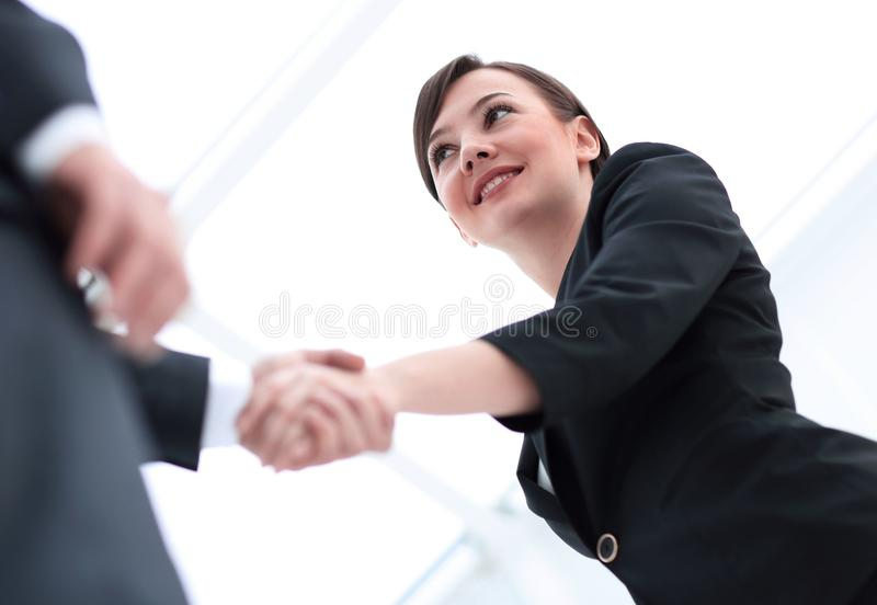 Background image of business partners handshaking.close-up. stock photo