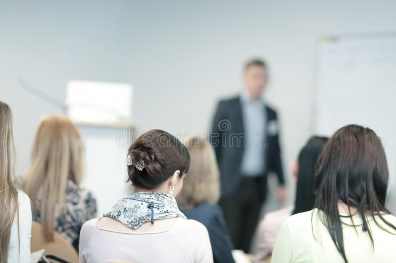 Background image of a businessman speaking at a business seminar. royalty free stock image