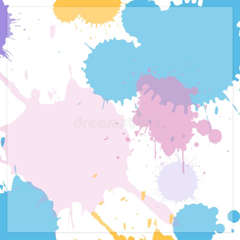 Background image Drops of various colors on a white background royalty free illustration