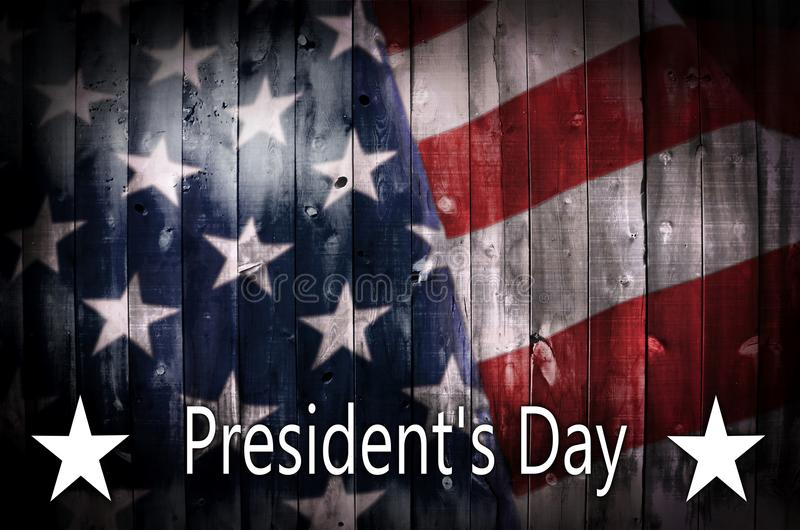 President s Day background on wood. stock image