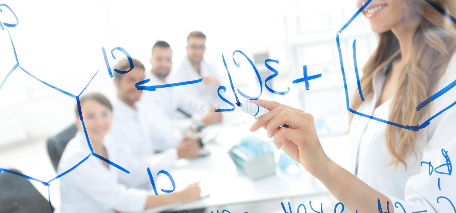 Female scientist makes a report to colleagues royalty free stock photo