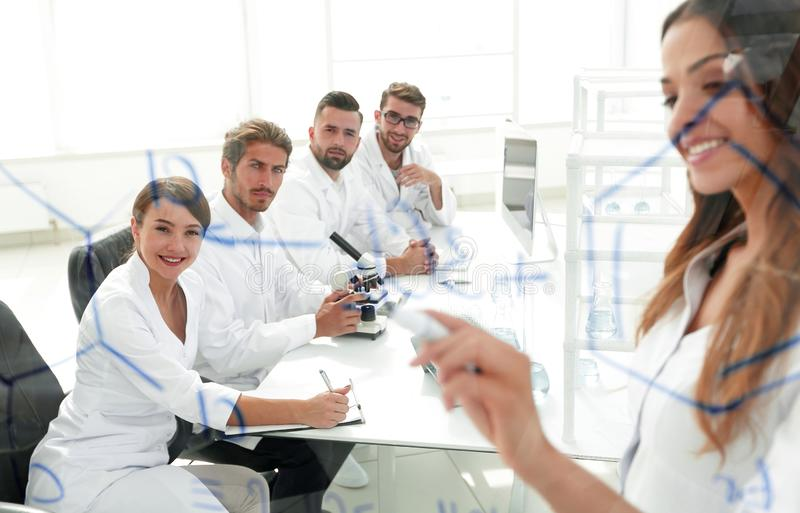 Female scientist makes a report to colleagues royalty free stock photos