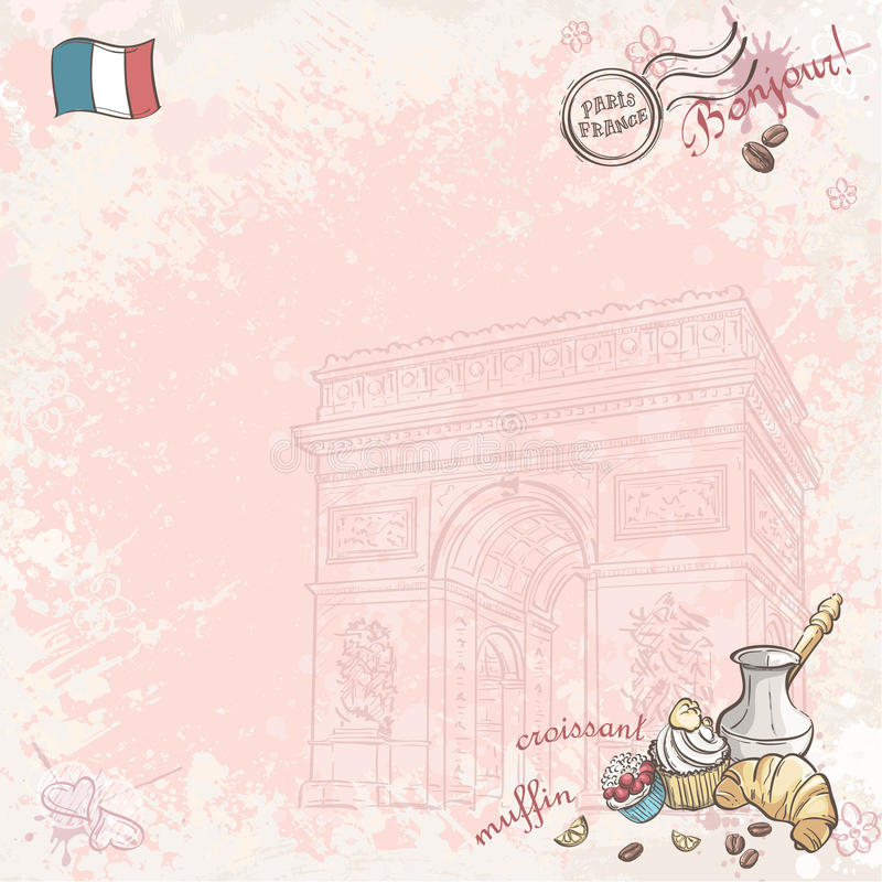 Background image on France with cupcakes and croissants royalty free illustration