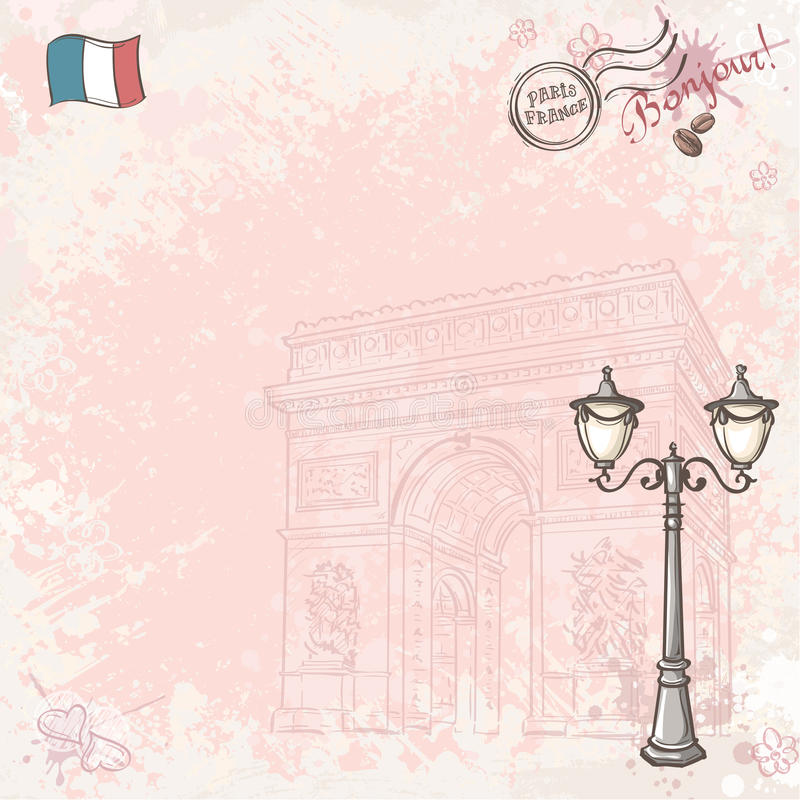 Background image on France with street lamp royalty free illustration