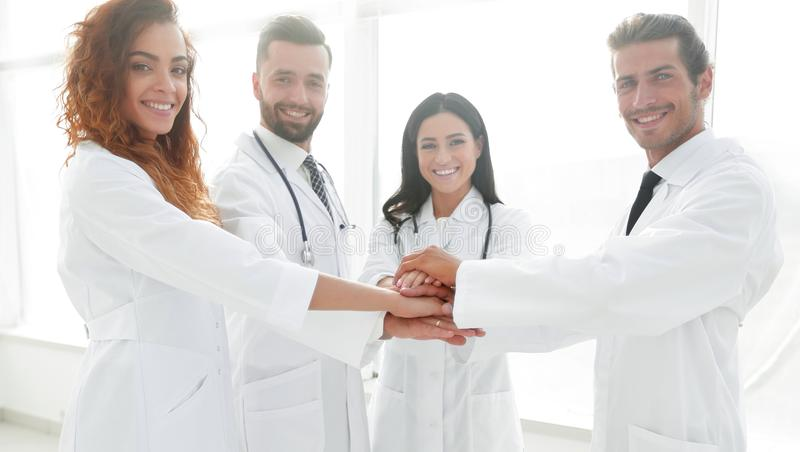 Background image of a group of doctors. The concept of teamwork stock images