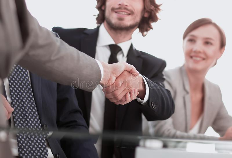 Background image of handshake of business partners. Photo with copy space stock photography