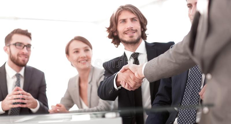 Background image of handshake of business partners stock photo