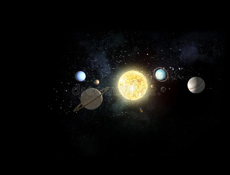 System of planets . Mixed media. Background image with planets of sun system. Mixed media royalty free illustration