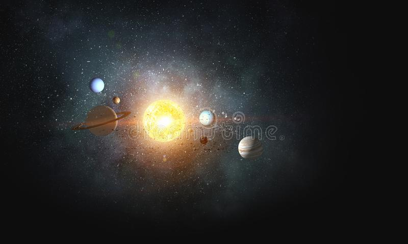 System of planets . Mixed media. Background image with planets of sun system. Mixed media stock illustration