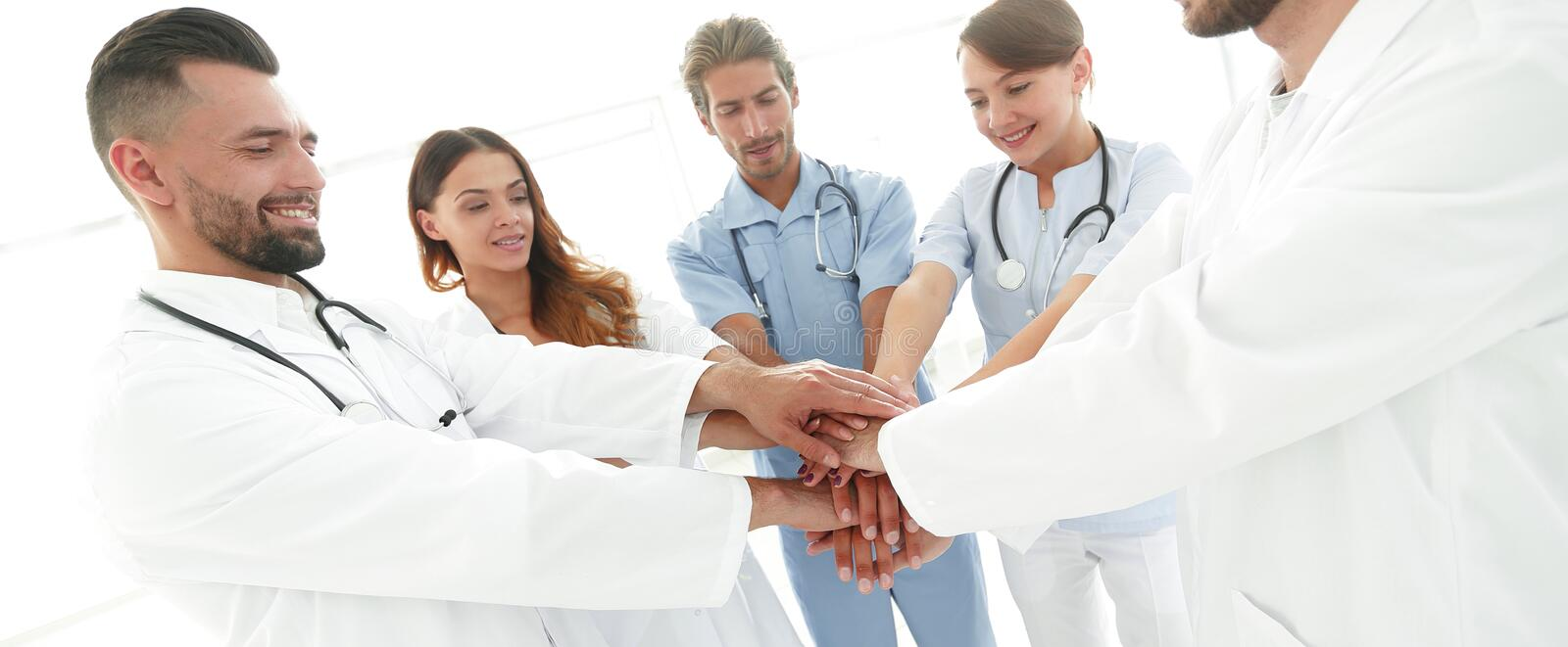 Background image of a successful group of doctors on a white background. Photo with copy space stock image