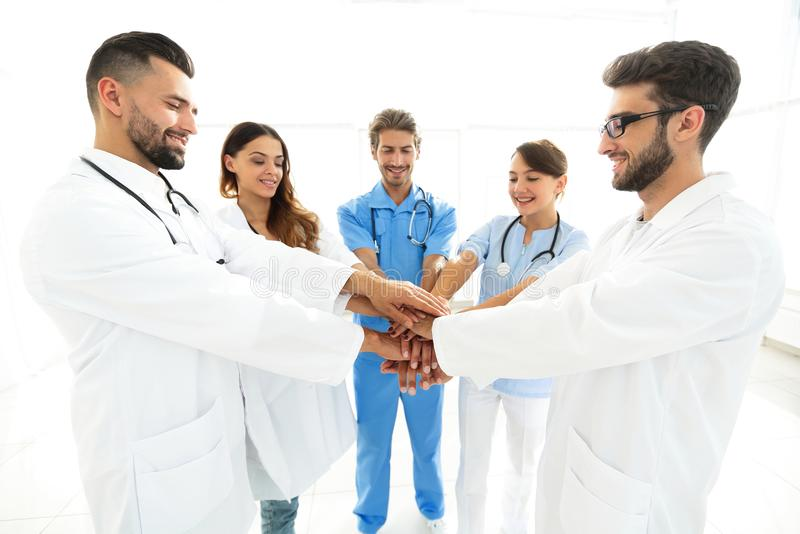 Background image of a successful group of doctors on a white background. Photo with copy space royalty free stock photo