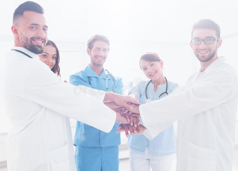 Background image of a successful group of doctors on a white background. Photo with copy space royalty free stock image