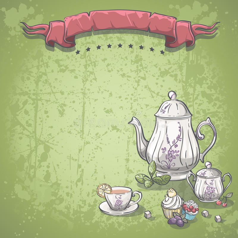 Background image with tea service with tea leaves, and fruit cakes stock illustration