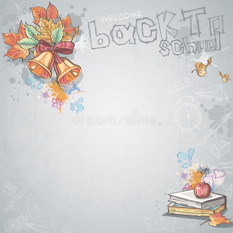Background image for text with school bells, books and apple vector illustration
